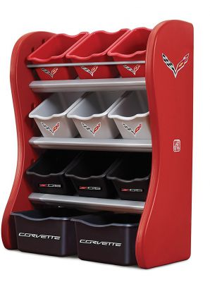Органайзер с разноцветными ящиками CORVETTE ROOM ORGANIZER, 89х67х36см, красный/черный